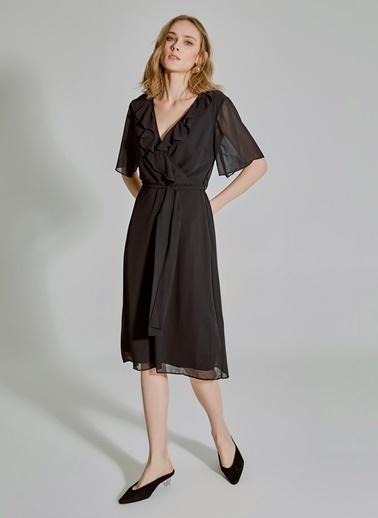 People By Fabrika Volanlı Bağlamalı Elbise Siyah